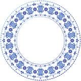 Vit-blå dekorativ gzhelram royaltyfri illustrationer