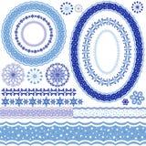 Vit-blåa dekorativa ram och modeller stock illustrationer
