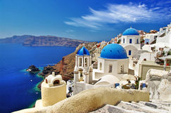 Vit-blått Santorini Arkivfoton