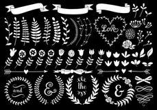 Vit blom- lagerkrans, vektoruppsättning vektor illustrationer