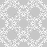 Vit blom- sömlös design på grå bakgrund