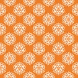Vit blom- sömlös modell på orange bakgrund Royaltyfria Bilder