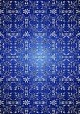 Vit blom- sömlös modell på blå lutningbakgrund Arkivfoton