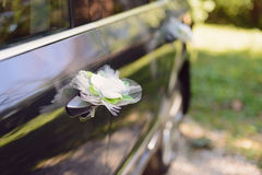 Vit blomma på bilen Royaltyfri Fotografi