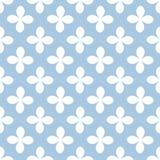 Vit blomma på sömlös modell för blå bakgrund Vektorbackgro Royaltyfri Fotografi