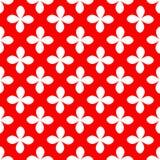 Vit blomma på sömlös modell för röd bakgrund Vektorbackgrou Arkivfoton