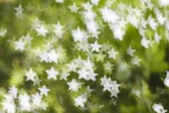 Vit bokeh på grön bakgrund Royaltyfri Fotografi