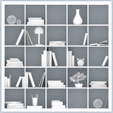 Vit bokhyllaillustration Fotografering för Bildbyråer