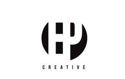 Vit bokstav Logo Design för EP E P med cirkelbakgrund Arkivfoto