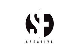 Vit bokstav Logo Design för SF S F med cirkelbakgrund stock illustrationer
