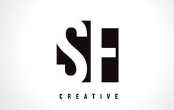 Vit bokstav Logo Design för SF S F med den svarta fyrkanten royaltyfri illustrationer
