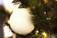 Vit boll för julgarnering på julgranen royaltyfri bild
