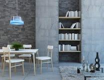 Vit bordlägger i grå färg vilar rum Arkivbild