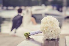 Vit bröllopbukett royaltyfri bild