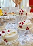 Vit bröllopstårta Arkivbilder