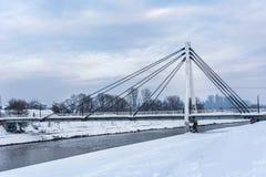 Vit bro för storstad på molnig dag för vinter med snö royaltyfria foton