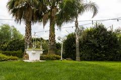 Vit brunn i en trädgård arkivbilder