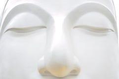 Vit Buddha framsidaslut upp Arkivbild