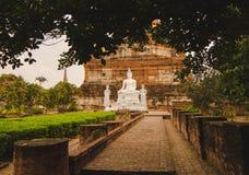 Vit Buddha i den arkeologiska platsen Royaltyfria Foton