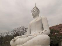 Vit Buddha i det Lopburi landskapet Royaltyfri Foto