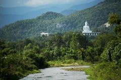 Vit Buddha på kullen Royaltyfri Bild