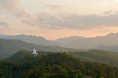 Vit buddha staty på berget Royaltyfria Bilder