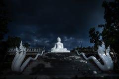 Vit buddha staty på natten Arkivfoto