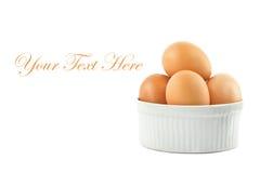 Vit bunke med bruna ägg över den vita bakgrunden Fotografering för Bildbyråer