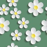 Vit chamomile Modellinpackningspapper, textilmall Grön bakgrund royaltyfri illustrationer