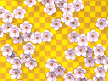 Vit Cherry Blossoms On Gold Pattern bakgrund Royaltyfria Foton