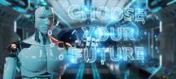 Vit cyborg som använder för textmanöverenhet 3D för framtida beslut tolkningen stock illustrationer