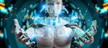 Vit cyborg som använder för textmanöverenhet 3D för framtida beslut tolkningen royaltyfri illustrationer