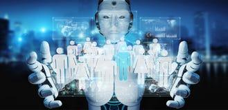 Vit cyborg som kontrollerar tolkningen för grupp människor 3D Royaltyfri Fotografi