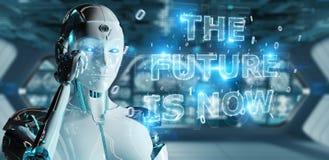 Vit cyborgkvinna som använder för textmanöverenhet 3D för framtida beslut rende royaltyfri illustrationer
