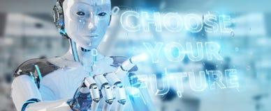 Vit cyborgkvinna som använder för textmanöverenhet 3D för framtida beslut rende stock illustrationer