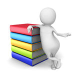 Vit 3d Person With Colorful Books stock illustrationer