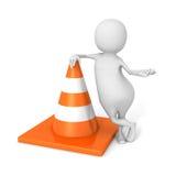 Vit 3d Person With Orange Road Cone Arkivbilder