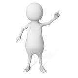 Vit 3d Person Pointing Finger Fotografering för Bildbyråer
