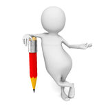 Vit 3d Person With Red Pencil stock illustrationer