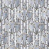 Vit 3d texturerade den sömlösa modellen för den blom- Paisley vektorn Dekorativt försilvra dillandebakgrund Snöra åt texturtappni stock illustrationer