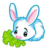 Vit dekorativ kanin som äter kåltecknad filmillustrationen Royaltyfria Bilder