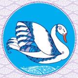Vit dekorativ ¾ n för svan Ð den dekorativa bakgrunden Royaltyfri Foto