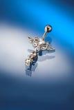 vit diamantguldpiercing som ställs in Royaltyfria Bilder