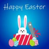 Vit easter kanin med ägg Rolig kanin i plan stil kanin easter På blåttvinterbakgrund Färgrik lycklig påsk Royaltyfri Foto
