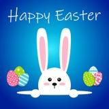 Vit easter kanin med ägg Rolig kanin i plan stil kanin easter På blåttvinterbakgrund Färgrik lycklig påsk Royaltyfria Bilder