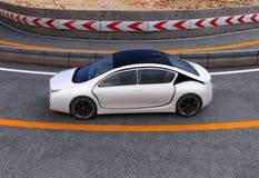 Vit elbil på huvudvägen vektor illustrationer