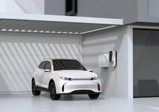 Vit elkraft driven SUV uppladdning i garage stock illustrationer