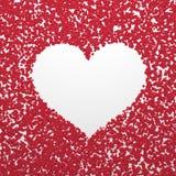 Vit enkel hjärta på röd abstrakt bakgrund Fotografering för Bildbyråer