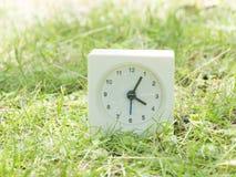 Vit enkel klocka på gräsmattagården, 4:05 fyra fem Arkivbilder