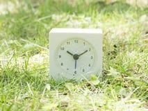 Vit enkel klocka på gräsmattagården, 10:10 tio tio Arkivbild